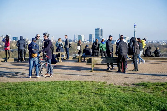 A lack of social distancing on London's Primrose Hill on 22 March
