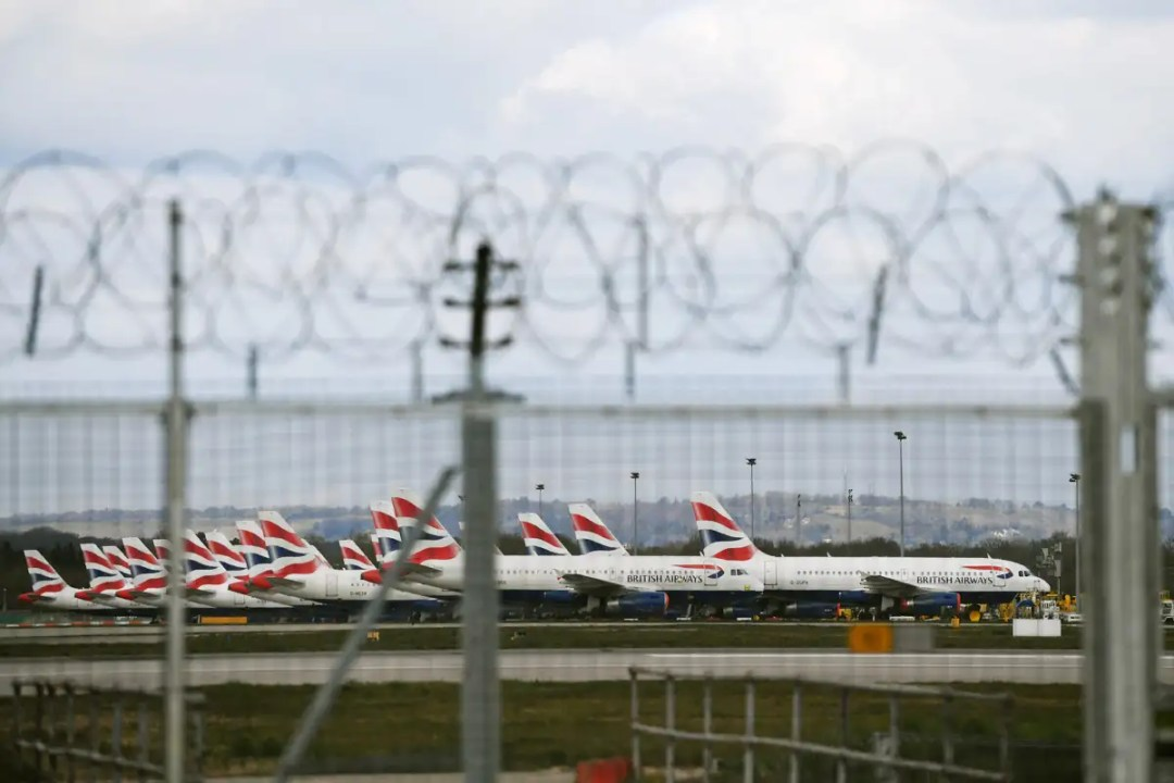 planes parked at gatwick airport