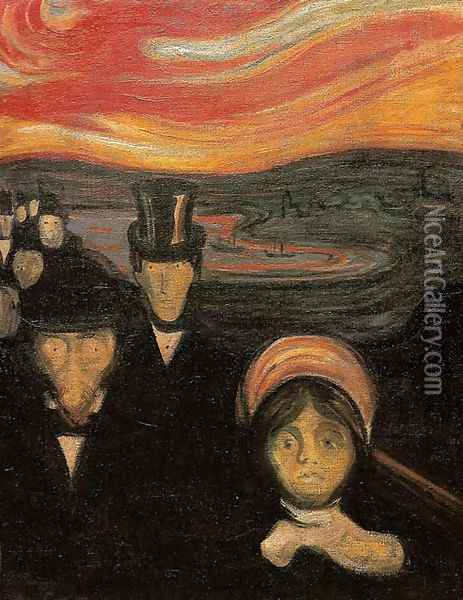 Anxiety oil painting reproduction by Edvard Munch