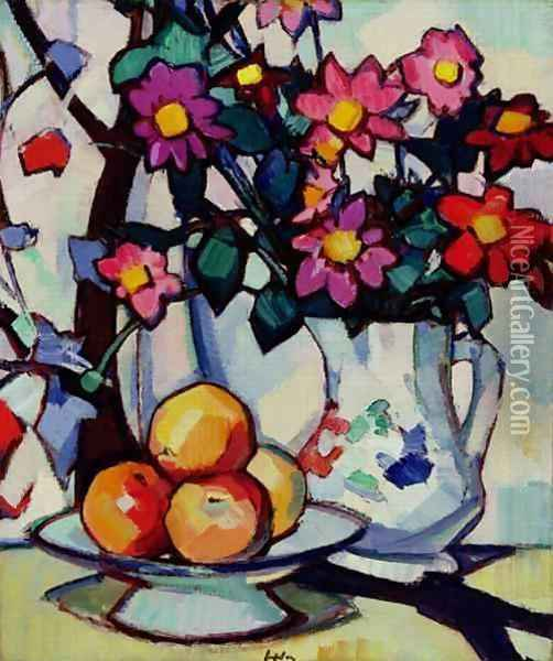 Still Life Of Dahlias And Fruit C1910 12 Oil Painting