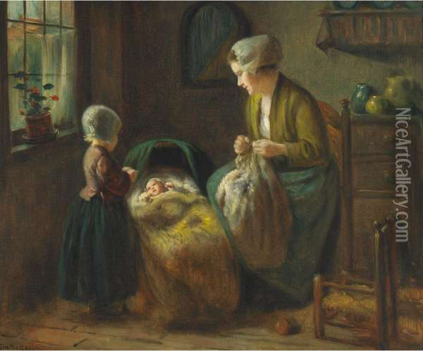 Dutch Interior With Mother And Children Oil Painting Reproduction By Jan Hendrick Van Grootvelt