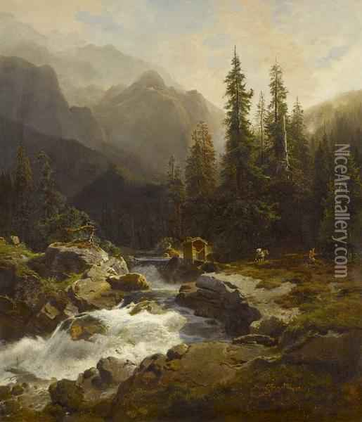 Wildbach oil painting reproduction by August Wilhelm Leu