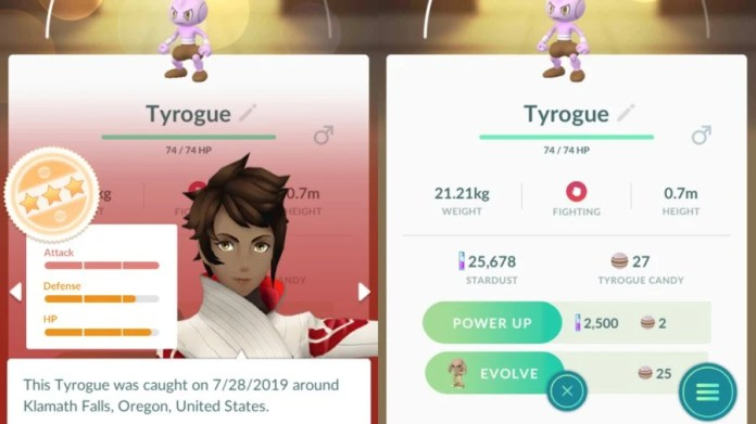 Tyrogue To Hitmonlee Stats Example