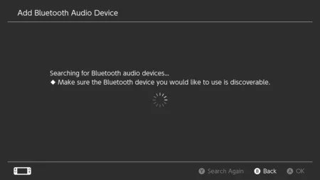 2. Nintendo Switch looking for a Bluetooth audio device