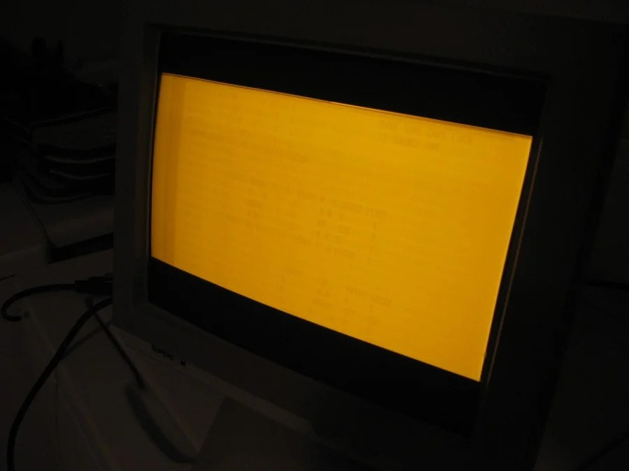 An example of screen burn-in on an amber CRT monitor