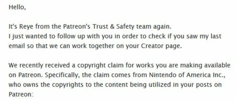 The DMCA Takedown notice that AkkoArcade received from Patreon