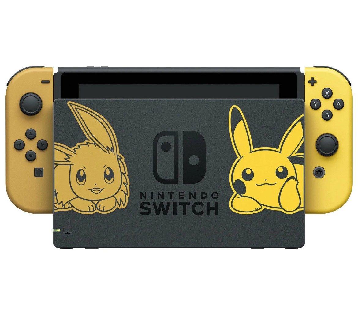 The official Pokémon: Let's Go and Pokémon Sword and Shield Switch consoles.