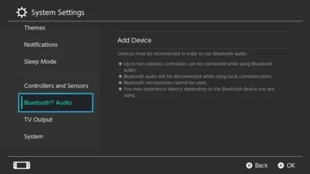 1. Nintendo Switch Bluetooth audio