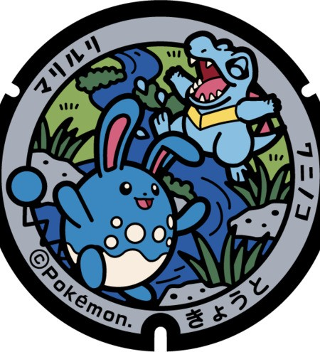 Azumarill and Totodile in a stream
