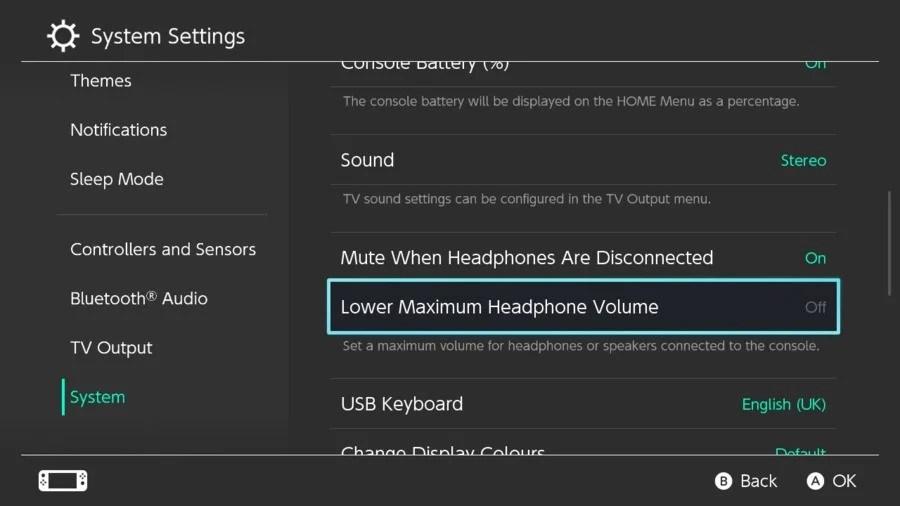 5. Nintendo Switch Lower the maximum volume of the deactivated headphones