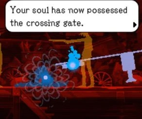 Screenshot of Ghost Trick: Sissel possesses a gate