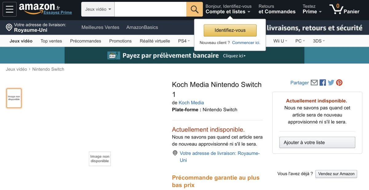 Amazon France comes up with another mystery Nintendo Switch game listing