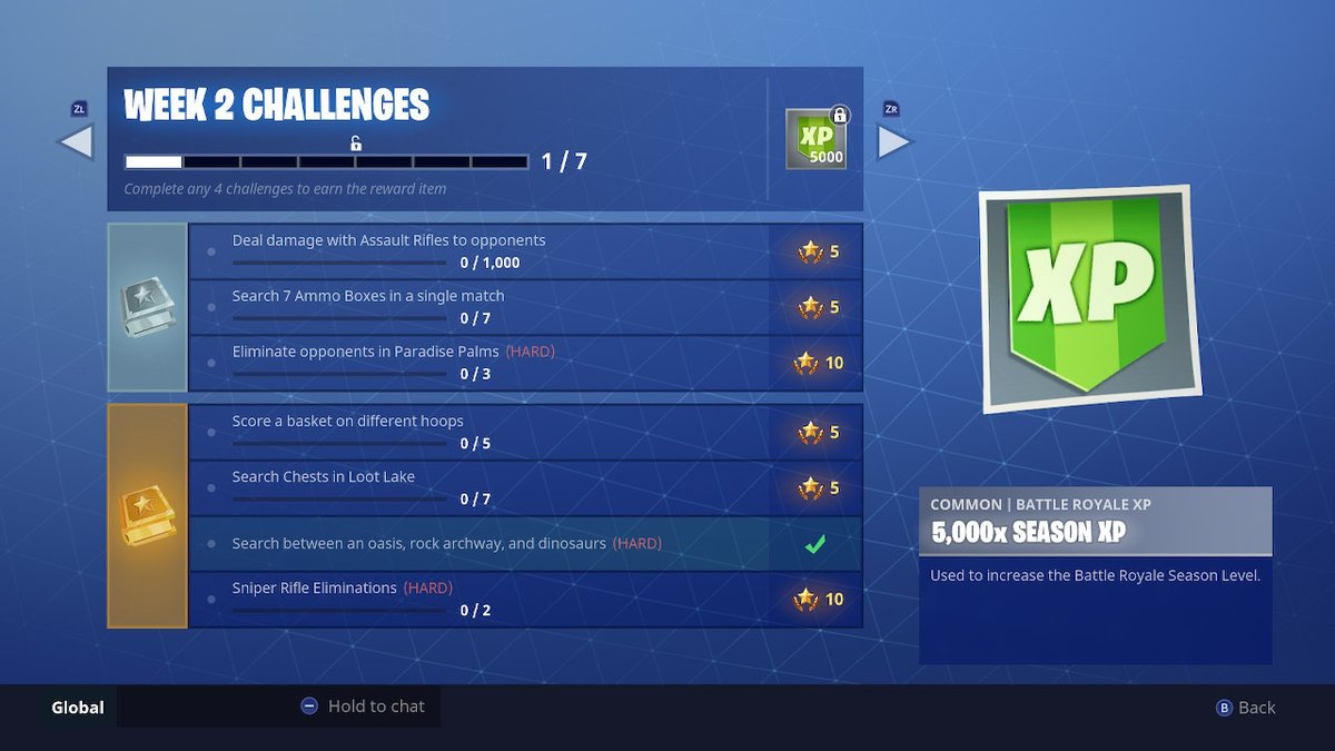 the following is a list of the free challenges in week 2 of season 5 of fortnite - when do fortnite challenges reset