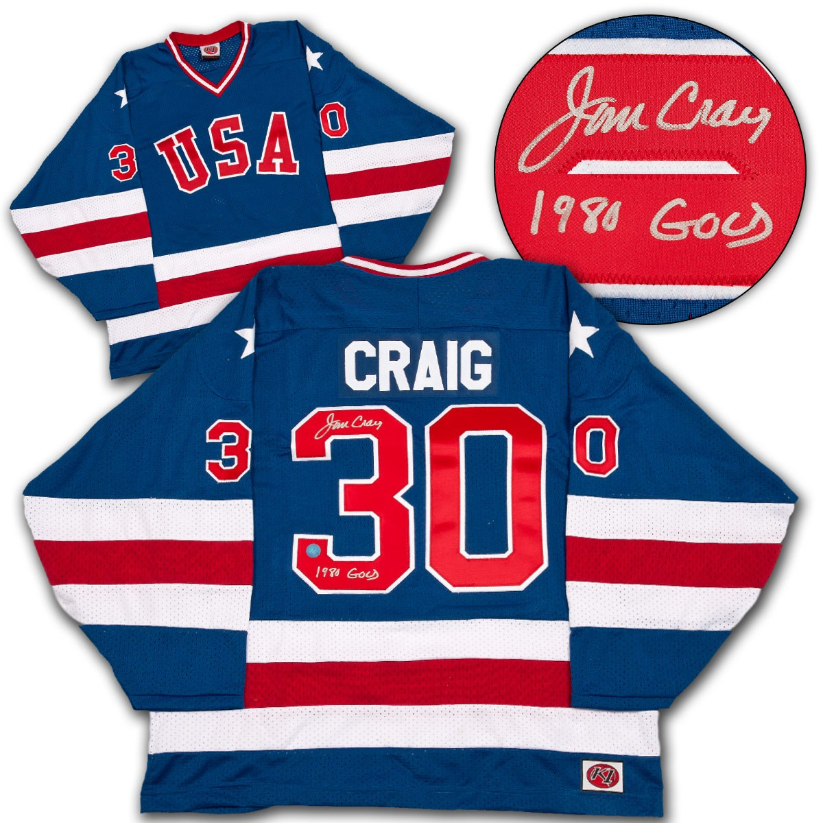 Jim Craig Team Usa Autographed Signed Olympic Jersey