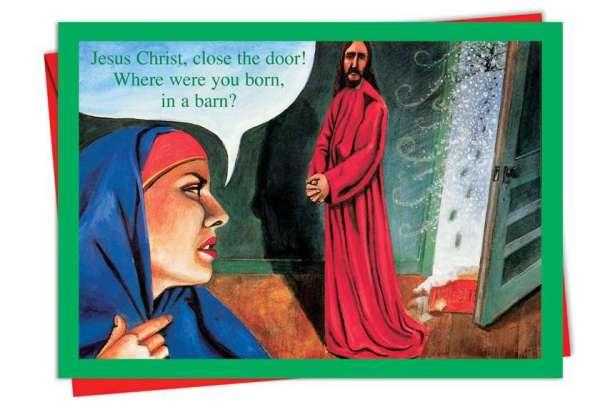 Jesus Born In A Barn Funny Christmas CardNobleworks