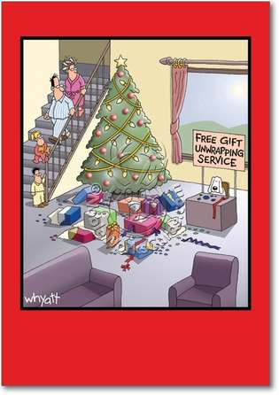 Gift Unwrapping Service Christmas Card