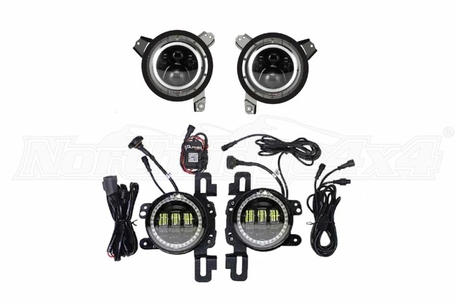 Quake LED Tempest Series 9in HD RGB Headlights4in Fog