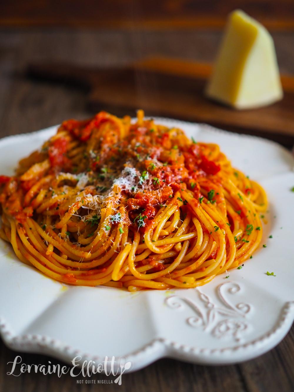 Amatriciana Pasta Sauce Spaghetti Bucatini @ Not Quite Nigella
