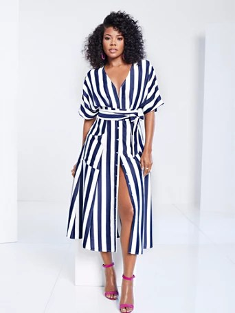 Gabrielle Union Collection - Striped Kimono Dress