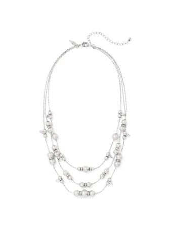 NY&C: Silvertone 3-Row Beaded Necklace