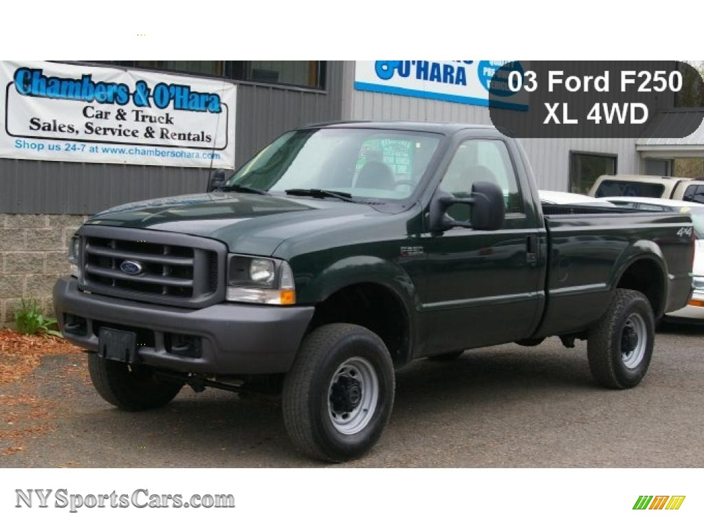 hight resolution of 2003 f250 super duty xl regular cab 4x4 dark highland green metallic medium flint