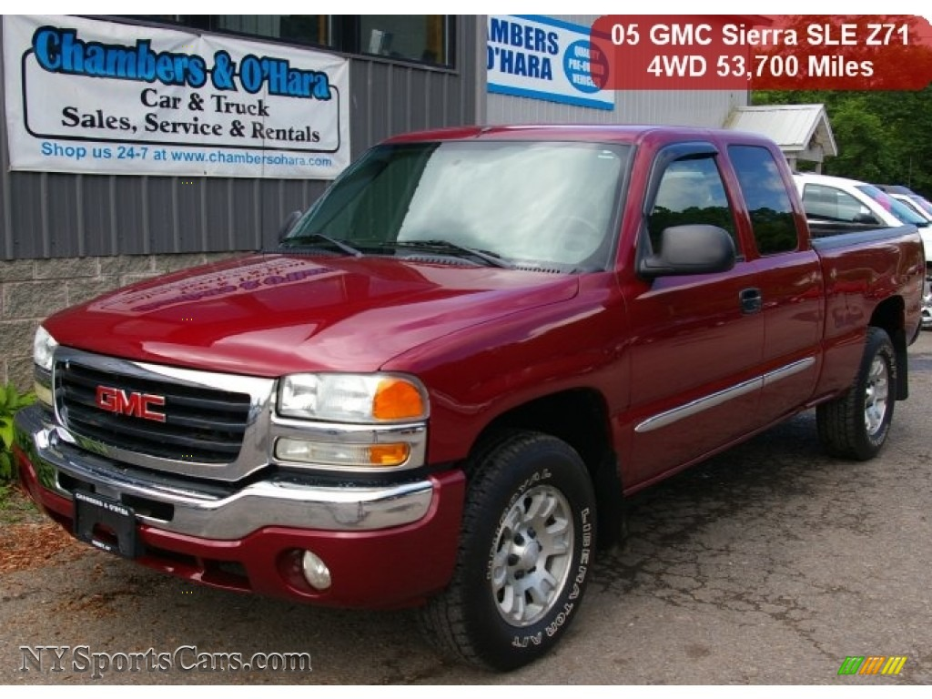 hight resolution of 2005 sierra 1500 sle extended cab 4x4 sport red metallic stone gray photo