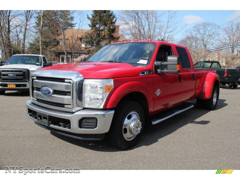 medium resolution of 2012 f350 super duty xlt crew cab 4x4 dually vermillion red steel photo
