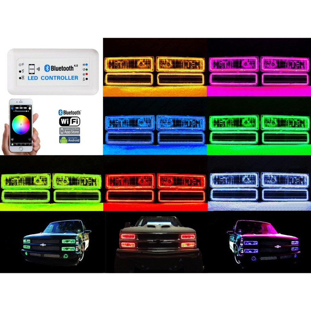 medium resolution of 1988 98 chevy gmc multi color changing led rgb headlight halo ring 95 98 chevy halo wiring diagram
