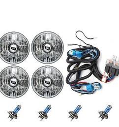 5 3 4 crystal halogen headlight headlamp 100w sw light bulbs relay harness kit [ 1600 x 1600 Pixel ]