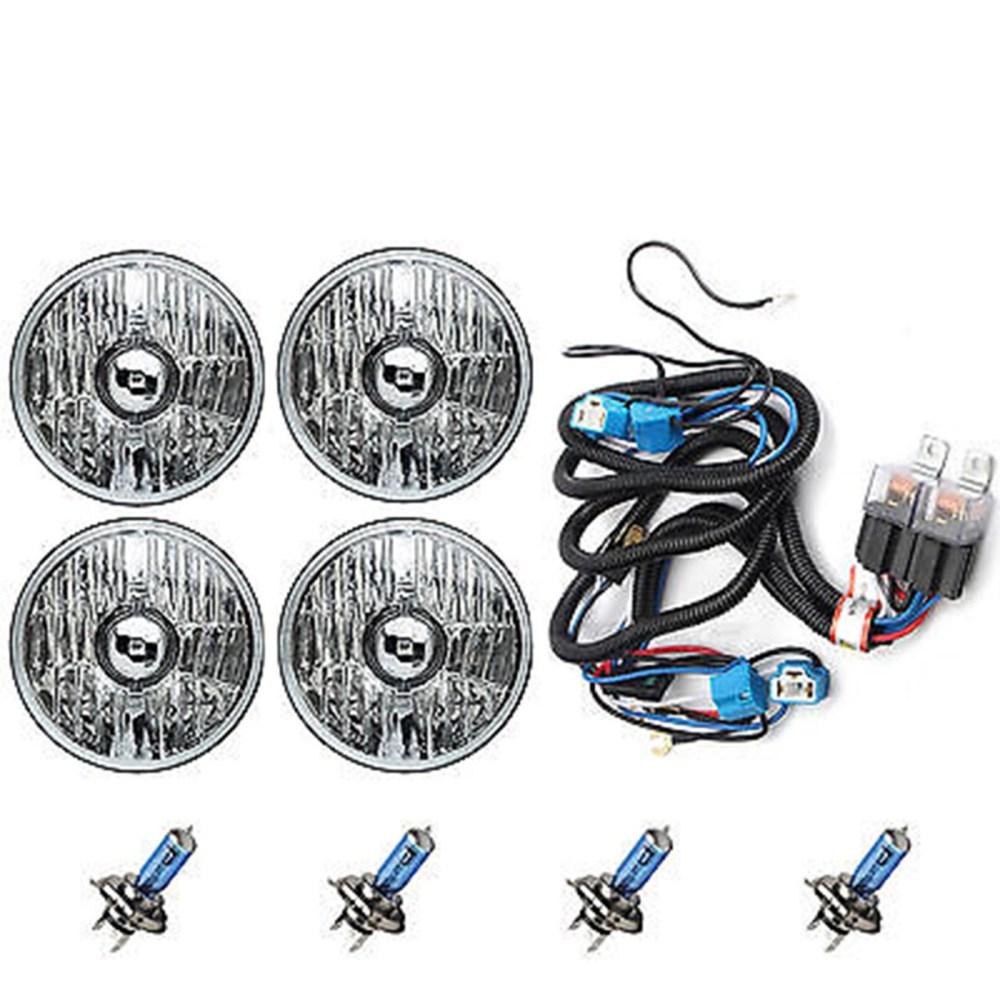 medium resolution of 5 3 4 crystal halogen headlight headlamp 100w sw light bulbs relay harness kit