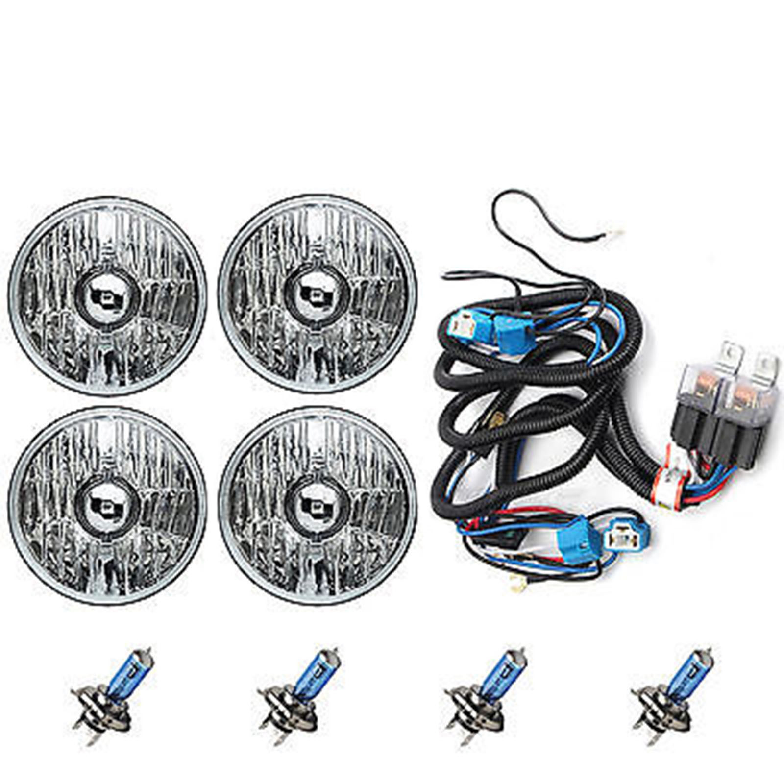 hight resolution of 5 3 4 crystal halogen headlight headlamp 100w sw light bulbs relay harness kit