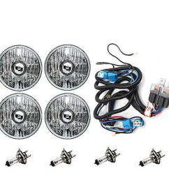 5 3 4 crystal clear halogen headlight headlamp 60w light bulbs relay harness kit [ 1600 x 1600 Pixel ]
