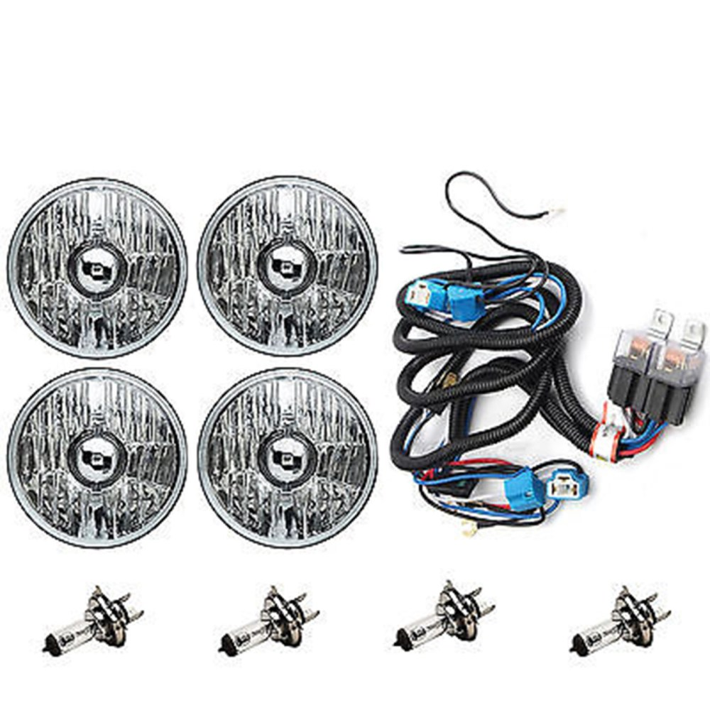 medium resolution of 5 3 4 crystal clear halogen headlight headlamp 60w light bulbs relay harness kit
