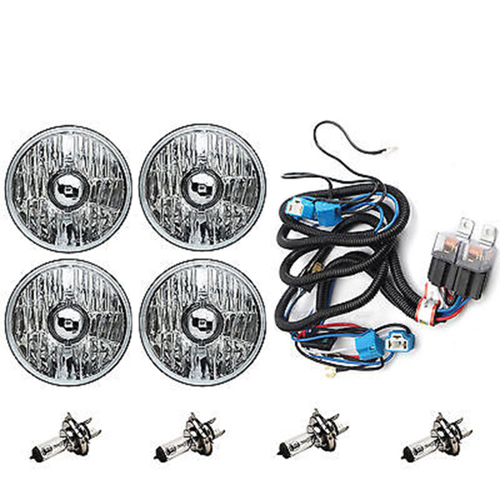 hight resolution of 5 3 4 crystal clear halogen headlight headlamp 60w light bulbs relay harness kit