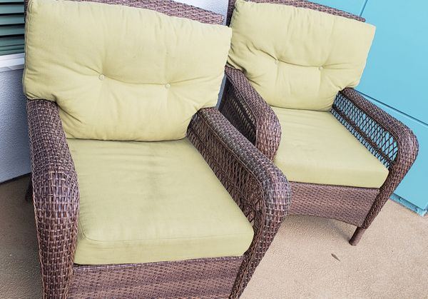 wicker patio chair set of 2 carlisle dining chairs with waterproof covers 90 for sale