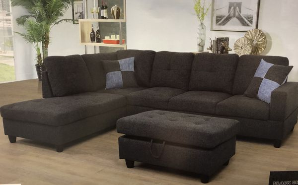 chocolate brown leather sectional sofa with 2 storage ottomans best apartment bed dark gray linen fabric ottoman for sale in seatac wa offerup