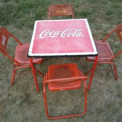 Coca Cola Chairs And Tables Rolling Desk Wooden Table With Four Wear Tear Shares Are Very Sturdy From The 1970s Antiques In San Antonio Tx Offerup