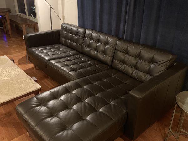 ikea dark brown leather