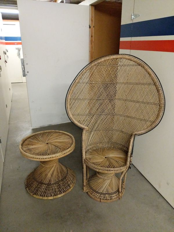 vintage peacock chair rocking stool wicker and table antiques in seattle wa offerup