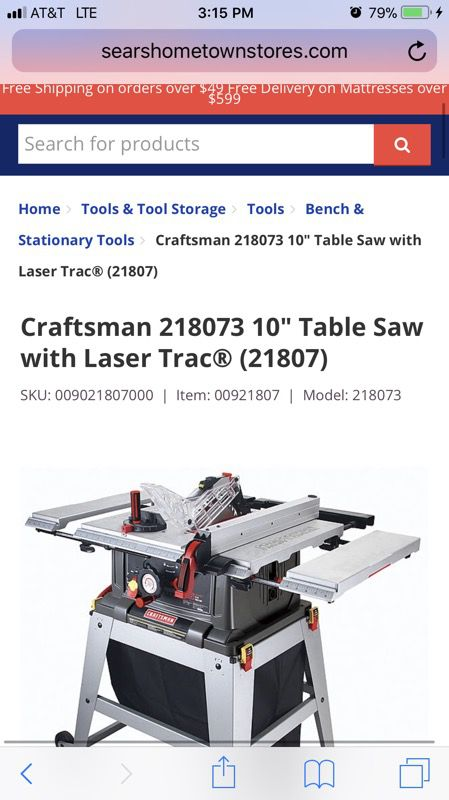 Table Saw With Laser