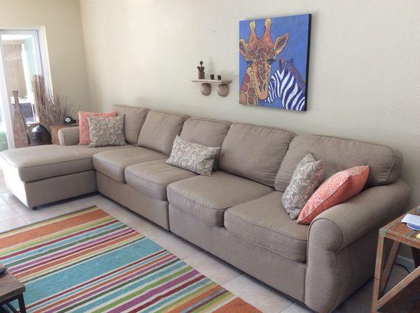 tan mastercraft sectional sofa 12 ft