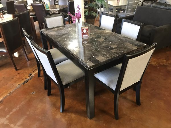 6 chair dining set fishing clamps brand new contemporary style in a black finish furniture lombard il offerup