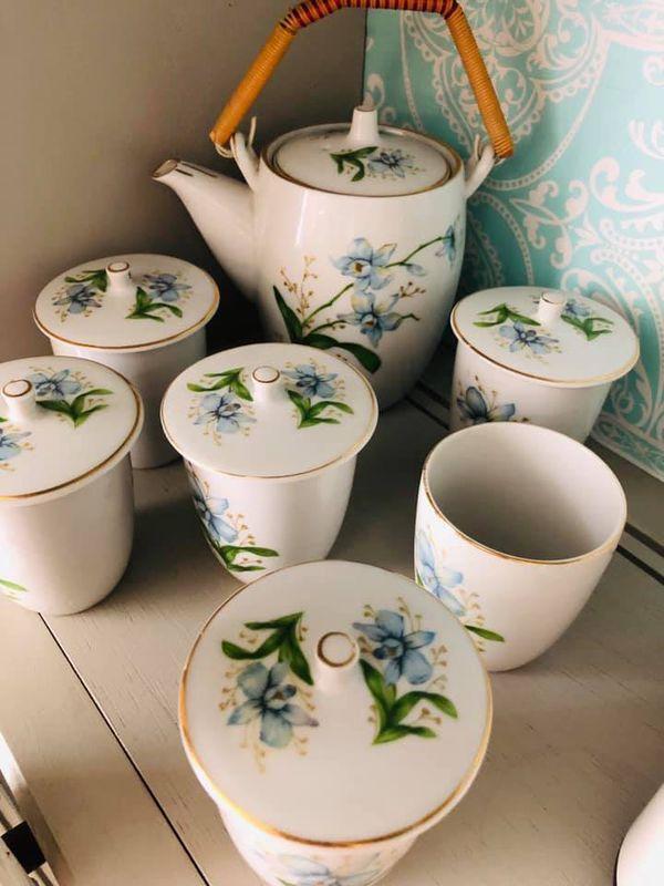 porcelain tea set covered