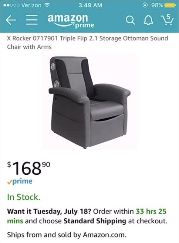 storage ottoman sound chair office for lower back pain uk x rocker 0717901 triple flip 2 1 gaming with arms and speakers brand new