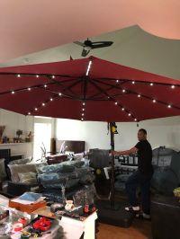 Hampton bay 11 ft LED offset solar umbrella in sunbrella ...