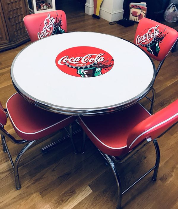 coca cola chairs and tables revolving chair specification vintage 5 pc table set for sale in somerville ma
