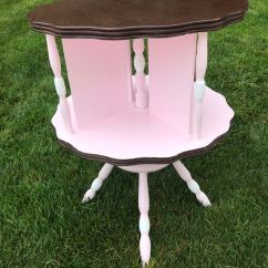 Chair Side Book Stand Foldable Rocking Lovely Vintage Bookstand Accent End Table Spins Nursery Ready