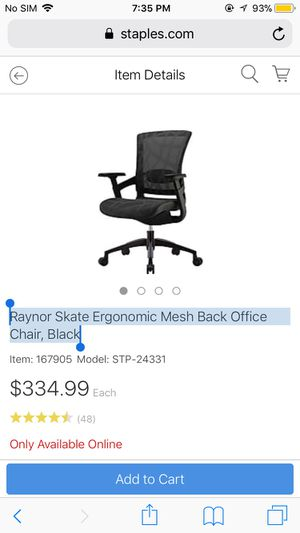skate chair staples grey wingback slipcover raynor ergonomic mesh back office black for sale in indianapolis offerup