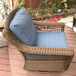 All Weather Wicker Outdoor Chairs Retro Diner Hampton Bay Spring Haven Brown Patio Swivel Rocking Chair With Sky Blue Cushions