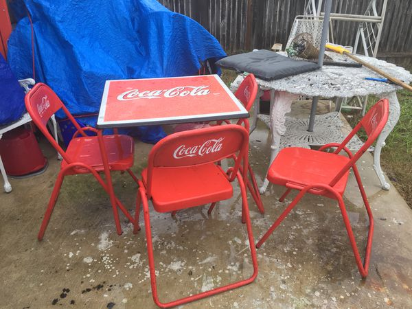 coca cola chairs and tables cherry wood dining room antique table with 4 cocacola for sale in kyle tx 230